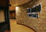 The entrance to the University of Colorado's new $1 Million  locker room. The University of...