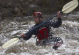 (Summit County, Colo., September 3, 2004) A kayaker goes down the Blue River, North of...