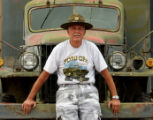 Fred LaPerriere (cq) in front of his 1942 WWII Weather Station vehicle, Wednesday afternoon,...