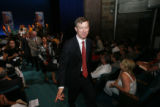 DLM1585  Denver Mayor John Hickenlooper points to one of his supporters  as he walks out in the...