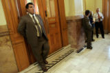 Governor Bill Ritter's security guard Jess Leyba watches over the Governor Tuesday, July 17, 2007,...