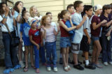 (Arvada, Colo.,  Sept. 20, 2004) Area elementary school students watch as Olympic Swimmers Michael...