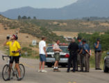 Bike rider Ron Haddad (cq), 56, takes a drink of water where the Colorado State Patrol and Larimer...