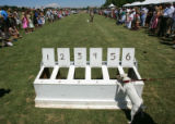 A Jack Russell terrier is eager to jump in the chute for the race at the 20th Annual Denver Polo...