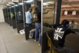 DLM0535  Customers shoot at the indoor range at Rocky Mountain Shooters Supply in Fort Collins,...