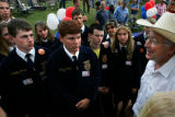 FFA members in opposition to the Pinon Canyon expansion react to comments made by Sen. Ken Salazar...