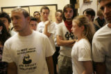 Ward Churchill supporters crowd outside room 227 in the UMC building on the CU campus in Boulder,...