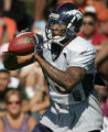 (JOE0126) - Denver Broncos wide receiver Brandon Marshall catches the ball during his first...