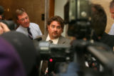 Rob Bernhardt, (cq) center, attorney for Mr. Trujillo, speaks to the media outside the courtroom...