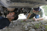 DU Off-road Club President Peter Belsky (cq), 21, of Denver, and Bryan King (cq), 20, of Denver,...