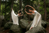 Portrait of Shelby Dyer, left, and Casey Dalton, right, of the Colorado Ballet, on Summit Lake...