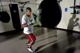 Robert Rodriguez,17, during a workout with the punching bag at  the Jesus Rodarte Cultural Center...