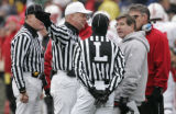 0499 University of Nebraska Head Coach Bill Callahan argues with the referees in the third quarter...