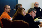 Tim Masters (cq, left) with Defense Attorney Maria Liu (cq, middle) and Lead Defense Attorney...
