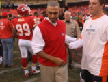 [EPS101] Kansas City Chiefs head coach Herm Edwards  walks off the field after congratulating the...