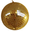rotated shiny golden mirror ball in nightclub