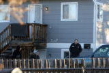 Janelle Maestas (cq) and Erik Lozada (cq) leave their apartment as Denver Police investigate the...