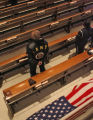 Bob Tallerdy (cq), a Army Vietnam vet, takes part in the funeral service for Major John L....