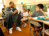 (DENVER, Colo., May 21, 2004) Denver Nuggets center Marcus Camby was principal for a day Friday...