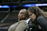 0366 Leah Daughtry, Democratic National Convention CEO, left, speaks with Peggy Cusack, her chief...