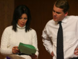Theresa Pena, President of Denver School Board, left,, and Superintendent Michael Bennet, get...