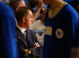 Air Force head coach Jeff Reynolds awaits the start of the game against Radford Monday night, Nov....
