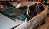 Damage to Edith Mack's car taken November 21, 2007. She was injured when an undercover Denver...