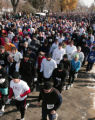Thousands at the start line run in the Mile High United Way 34th Annual Turkey Trot at Washington...