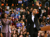 Oprah Winfrey campaigns with Democratic presidential hopeful Barack Obama in Des Moines, Iowa on...