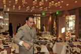 Thomas Nielesky (cq), Dinning Room Manager, sets the tables,Tuesday afternoon, November 27, 2007,...