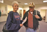 Jeri Priest (cq) and husband Larry Priest (cq) after appearing in Adams County court in Brighton...
