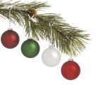 christmas tree. decoration. evergreen branch with ball