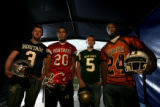 The 2007 Rocky Mountain News All-Colorado football specialists: from left - Kyle Major (Heritage),...
