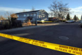 CODER107-Denver Police investigate the scene of a deadly shooting which happened in the apartment...