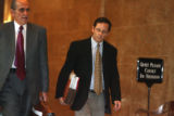 l to r: Attorney Gary Lazow (cq) and client Larry Manzanares(cq) enter Denver District Court...