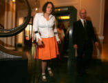 Molly Bloom (cq), 18, walks into a press conference with her lawyer Stephen Wahlberg (cq), right,...