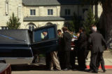 (BEATRICE, Nebraska, September10, 2004) Thge casket containing Samantha Spady is placed in the...