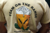 Tee shirt worn by Jim Edgins (cq) for the home brewing club that he and neighbor Art Ballah (cq) ...