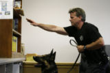 Jefferson County Deputy Sheriff and canine handler Kerry DiLorenzo(cq) directs new police dog...