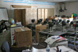School items that survived the fire at Weber Elementary School, are stored in a classroom,...