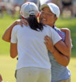 L to R: Jessica Wallace (cq) of British Columbia hugs Jane Rah (cq) of Torrance, California after...