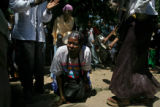 Sitey Ambara (cq) from Somalia takes to the ground as part of a traditional Somali Bantu dance at...