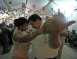 (NYT52) LA VINUELA, Spain -- JUNE 28,2007 -- SPAIN-SPOUSE-SCARCITY-3 -- Men and women dancing in...