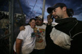 Train drivers give each other support before the start of their race, Kathy Calkins, Mike Steward...