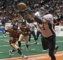 Chicago Rush Defensive Line Joe Peters cannot complete the pass for a touch down in the first half...