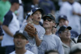 (DS437) - Unidentified fans watch baseballs soar into the outfield as the New York Yankees take...
