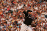 (JOE-a-089) - Colorado Rockies pitcher Josh Fogg pitches in the top of the third inning. Colorado...