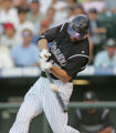 The Colorado Rockies first basemen Todd Helton records his 1000th hit in Coors Field in the...