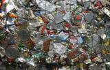 A stack of recycled cans is ready to be shipped out, Friday afternoon, June 29, 2007, at the Waste...