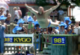 Greg Hoffman shows his winning form as he won the 11th annual Water World Belly Flop Contest at...